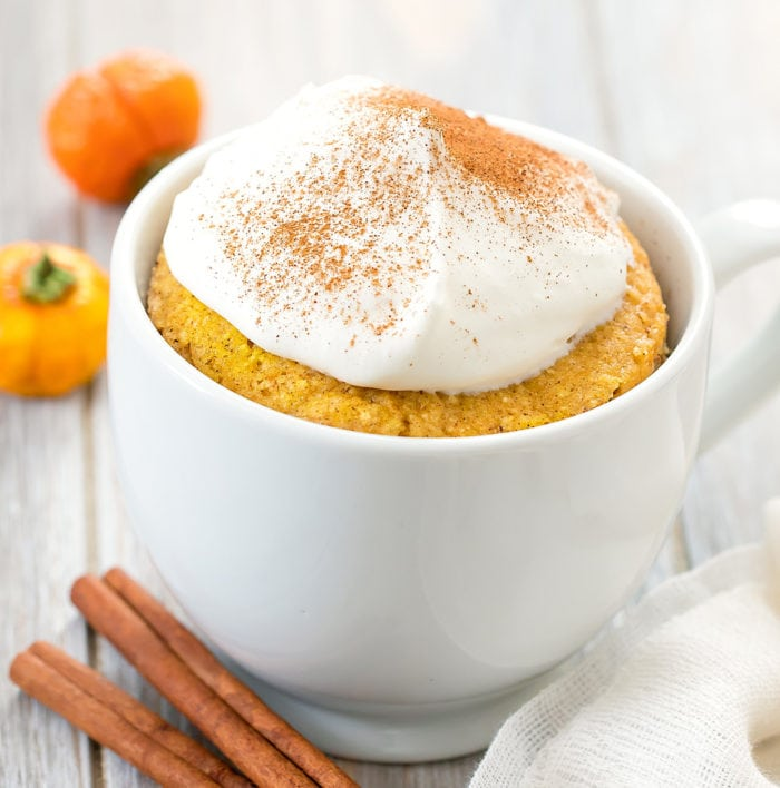 photo of a keto pumpkin mug cake
