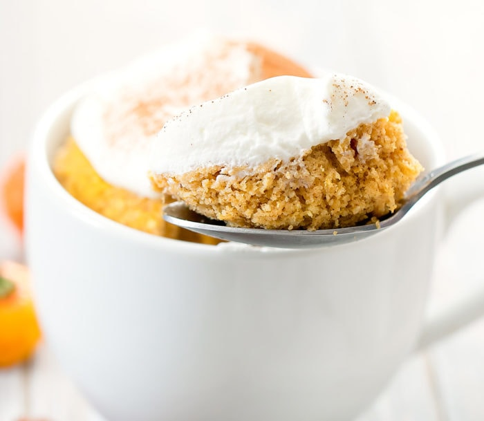 close-up photo of a spoonful of pumpkin mug cake