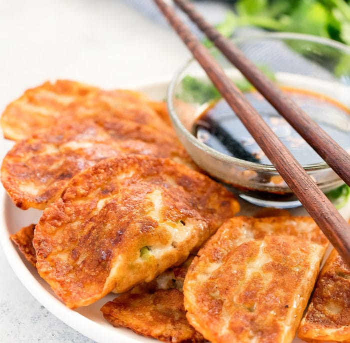 close-up photo of potstickers on a plate