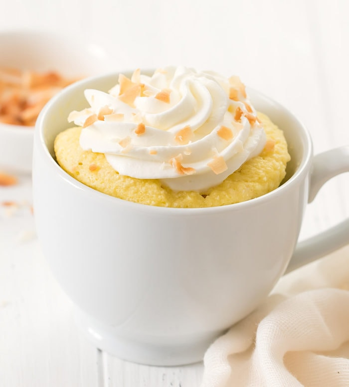 close-up photo of a keto coconut mug cake