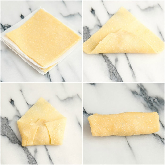 photo collage showing the steps for rolling the eggrolls