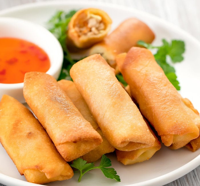 photo of a plate of keto eggrolls