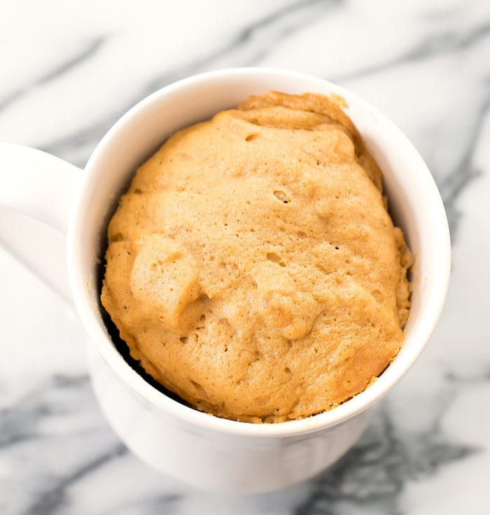 overhead photo of the bread in a mug
