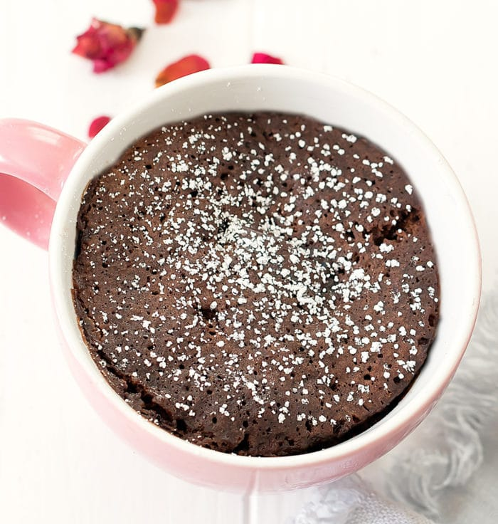 overhead photo of a chocolate mug cake