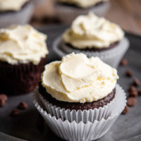 photo of chocolate cupcakes with frosting