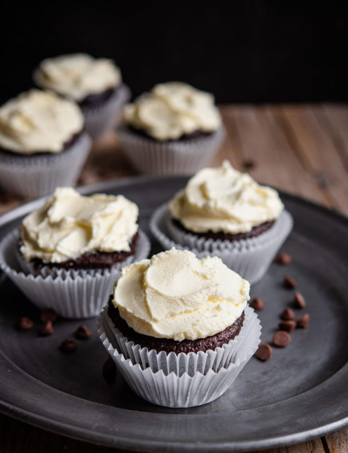 photo of chocolate cupcakes with mascarpone frosting