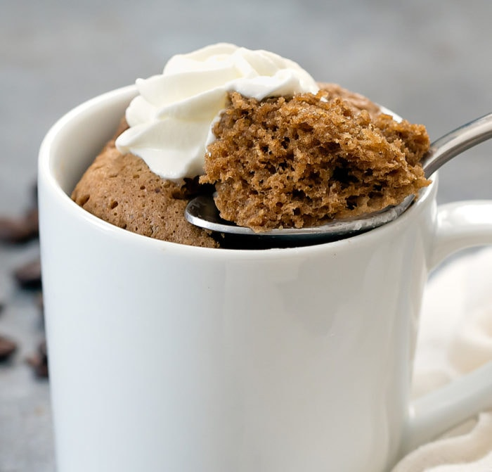 close-up photo of a spoonful of coffee cake