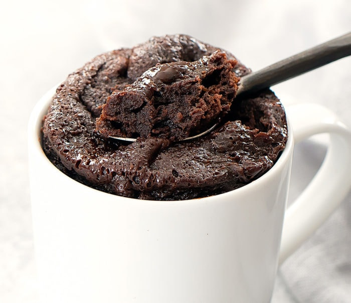 close-up photo of keto brownie mug cake