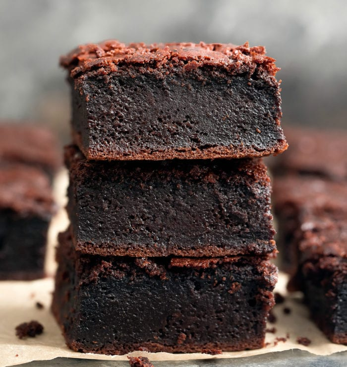 close-up photo of a stack of three mochi brownies