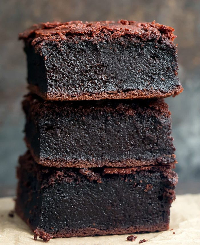 photo of a stack of chocolate mochi brownies