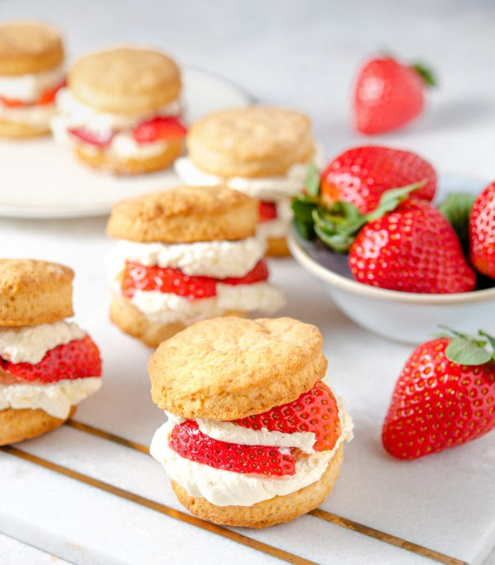 photo of shortcakes with fresh strawberries