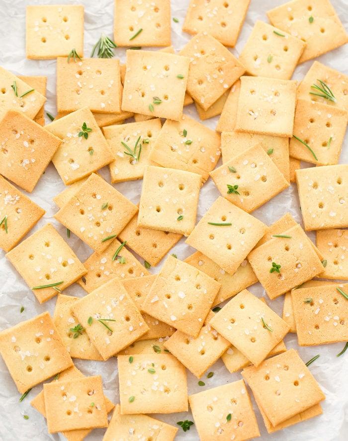 overhead photo of crackers