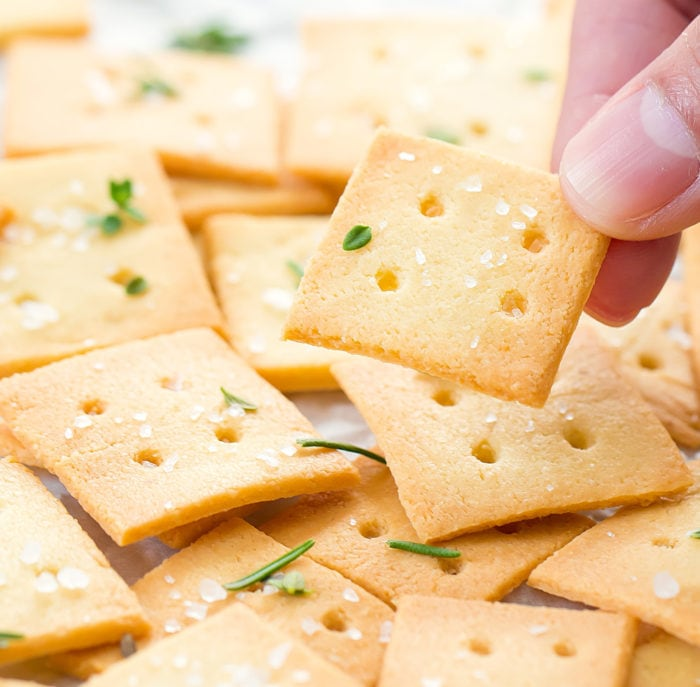 close-up photo of a keto cracker