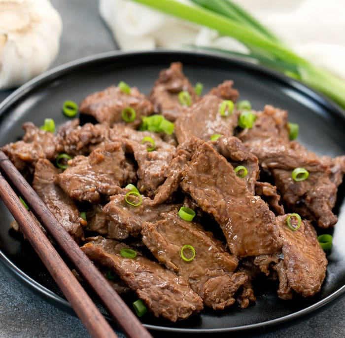 photo of a plate of garlic beef