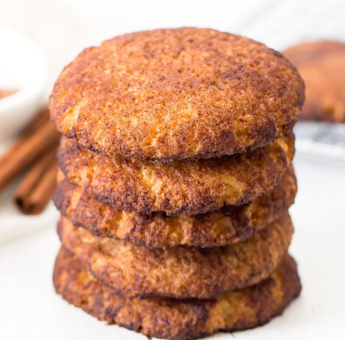 photo of a stack of snickerdoodle cookies
