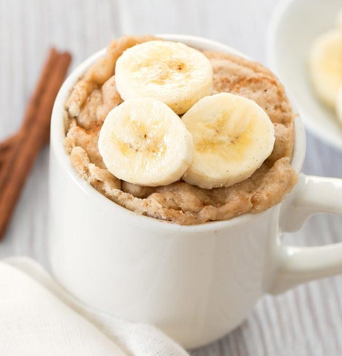 close-up photo of a banana bread mug cake