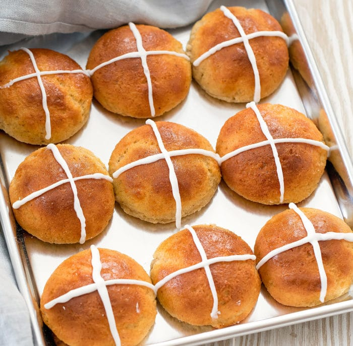 photo of baked rolls with icing