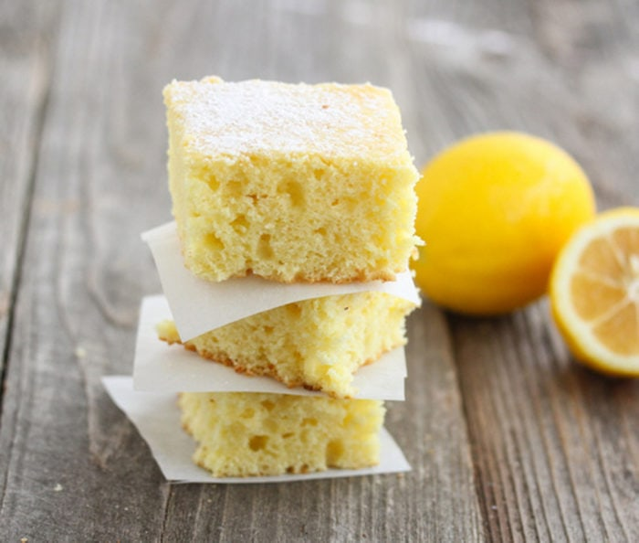 photo of a stack of three lemon cake slices