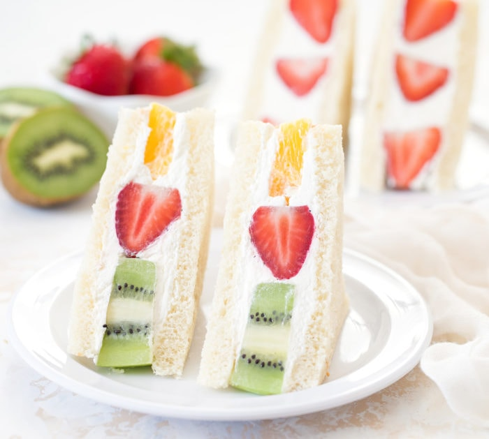 photo of two fruit sandwiches on a plate