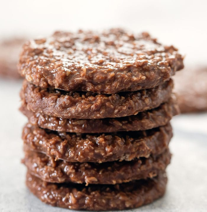 close-up photo of a stack of no bake cookies