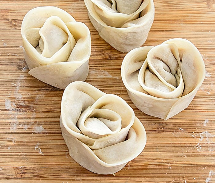 photo of the dumplings folded before they are cooked