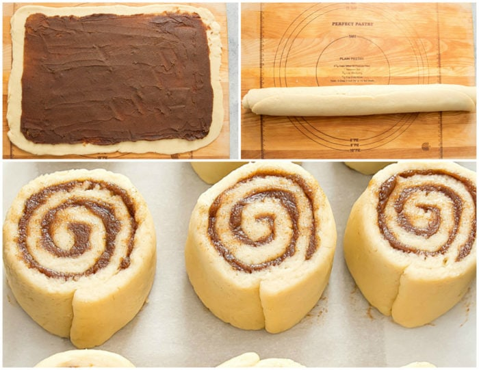 photo collage showing out to roll the dough, roll it up and slice into buns