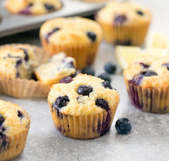 close-up photo of a lemon blueberry muffin