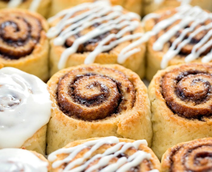close-up photo of rolls in a pan