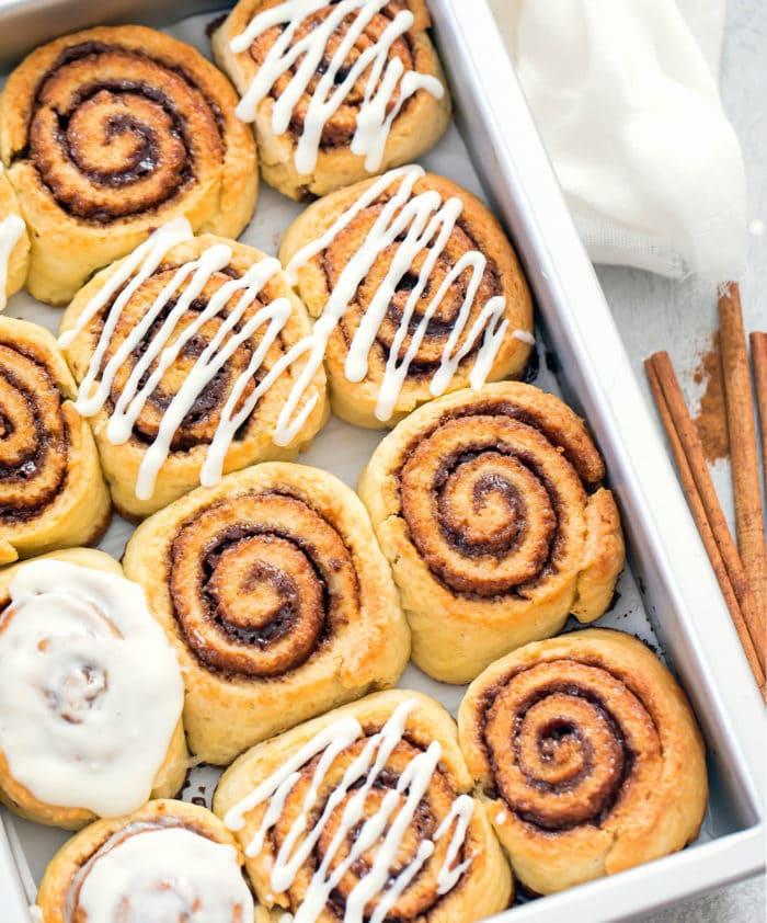 overhead photo of cinnamon rolls in a baking pan