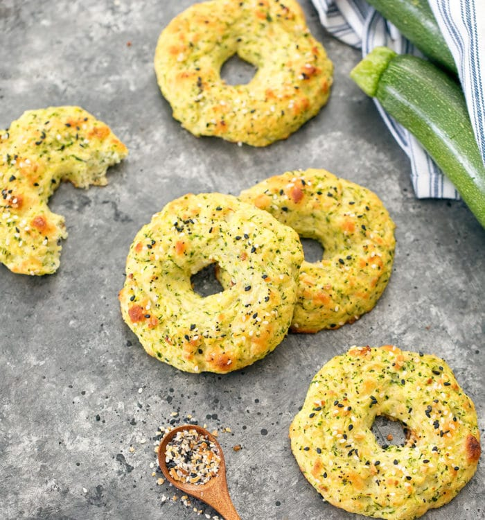 overhead photo of zucchini bagels