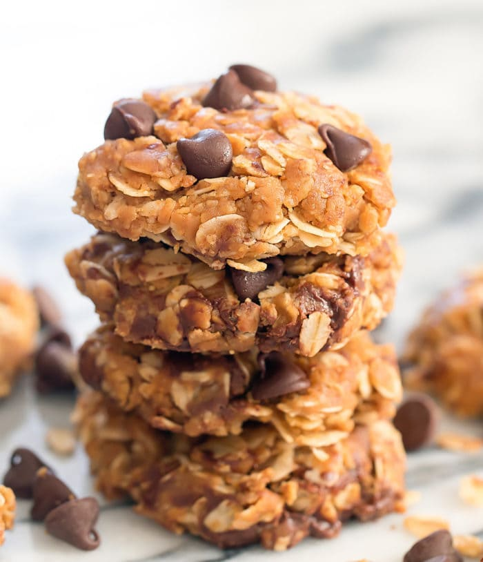 close-up photo of a stack of oatmeal cookies