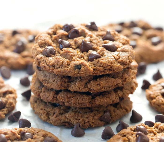 photo of a stack of four flourless cookies