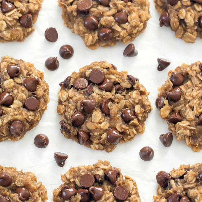 overhead photo of oatmeal cookies with chocolate chips