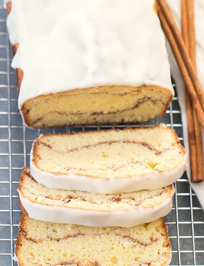 overhead photo of sliced cake