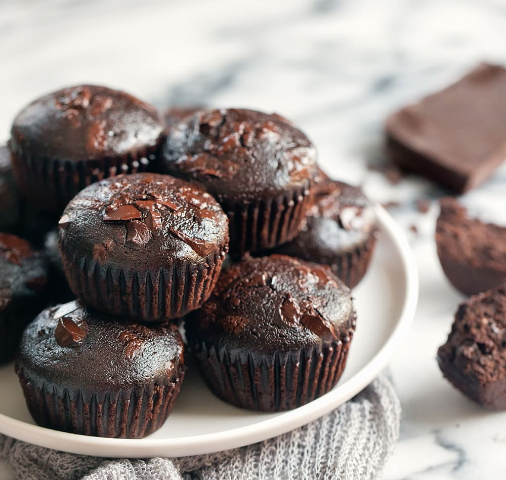 Double Chocolate Muffins No Eggs Oil Or Butter Kirbie S Cravings
