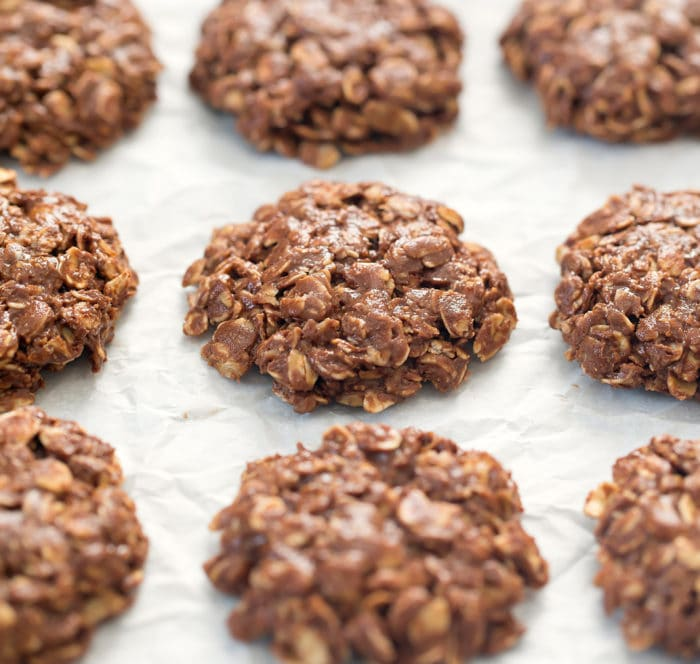 photo of no bake cookies lined up on parchment