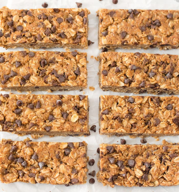chocolate chip granola bars lined up on parchment paper.