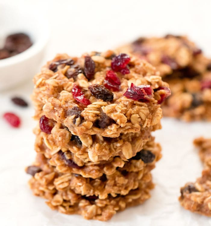 a stack of four oatmeal cookies.