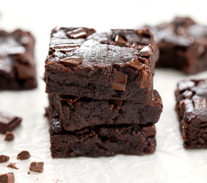 stack of three no bake brownies.