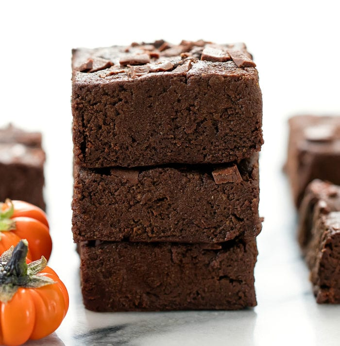 stack of three brownies.