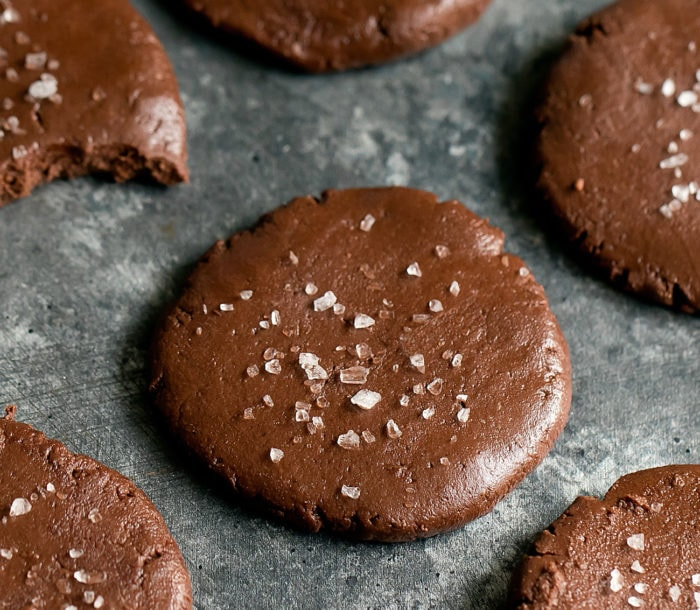 nutella cookie topped with flaky salt.