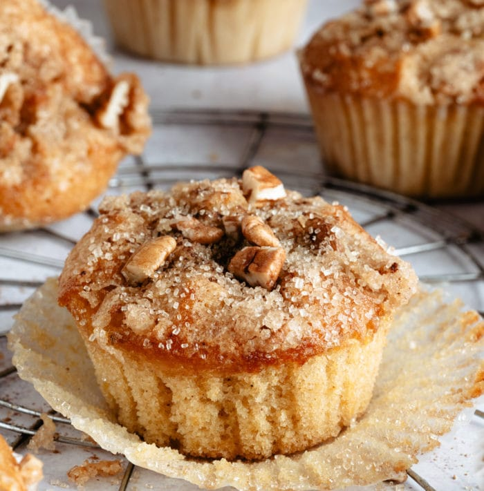 one muffins with the muffin liner removed.
