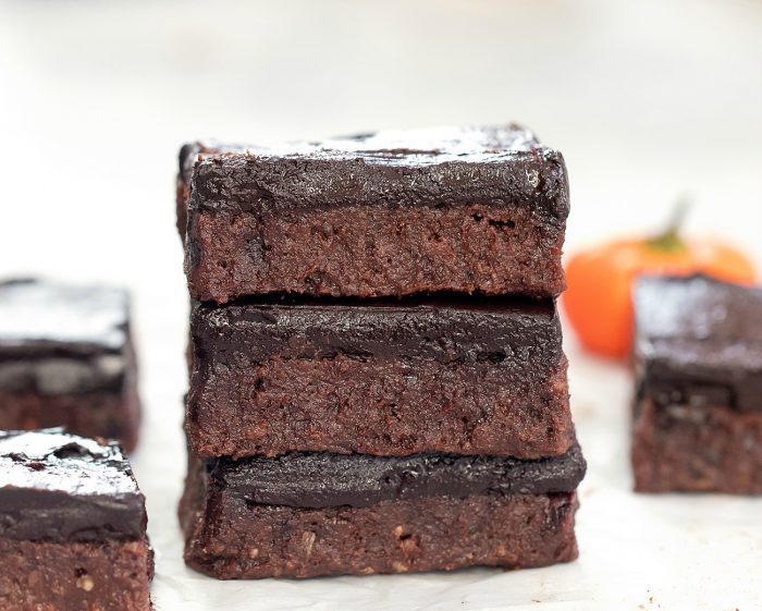 three brownies in a stack.