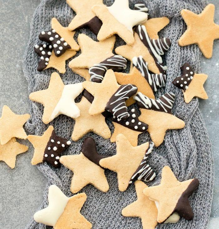 a pile of keto sugar cookies