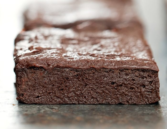 close-up shot of a brownie