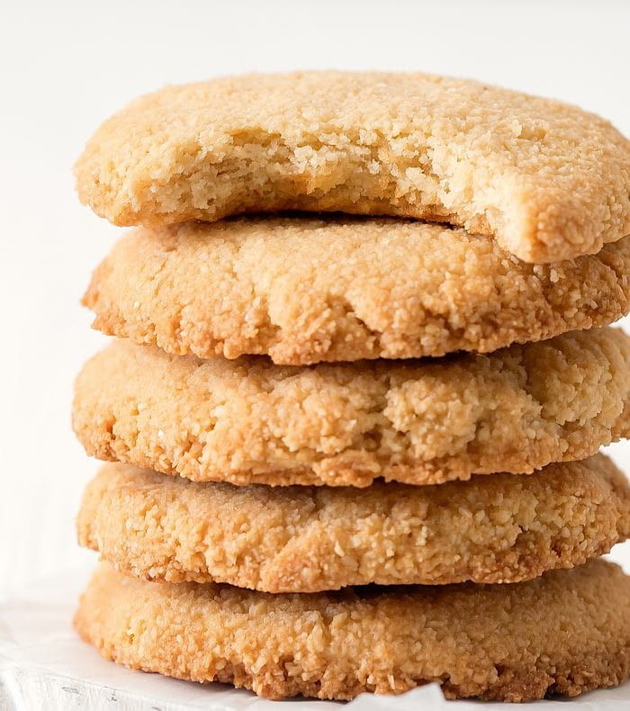 a stack of almond cookies