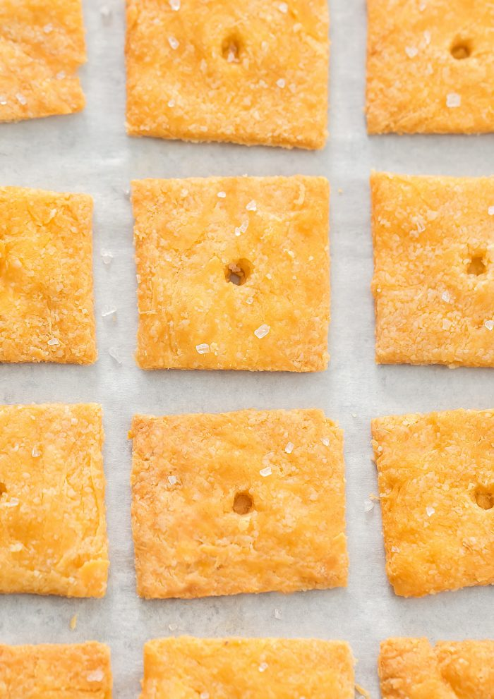 overhead shot of crackers lined up