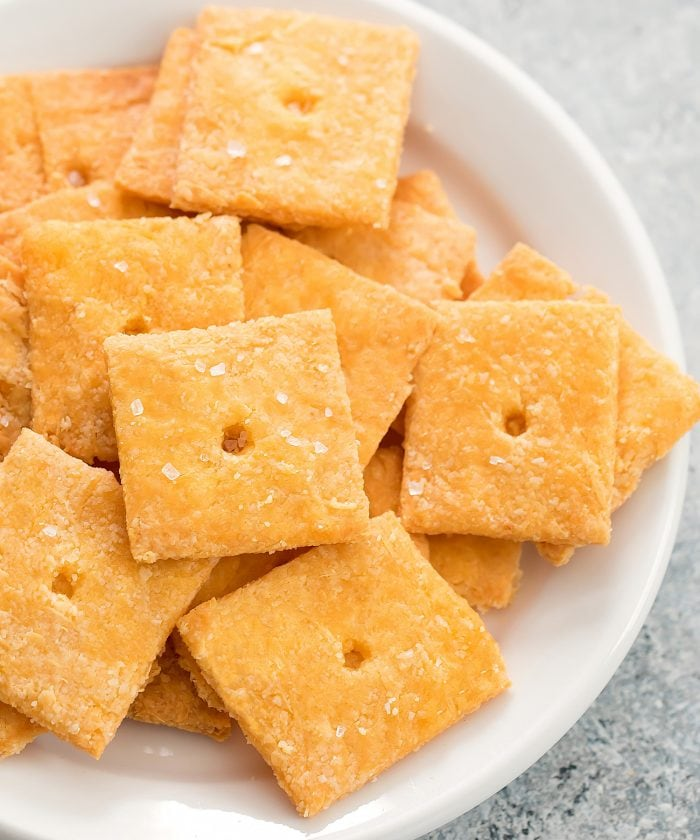 close-up shot of cheddar crackers