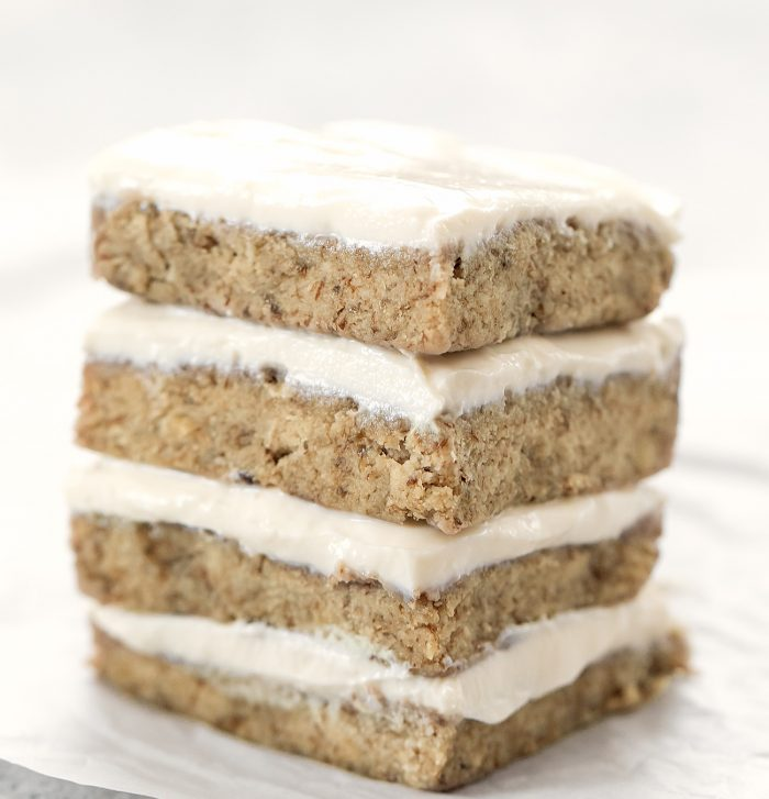 a stack of banana cake slices