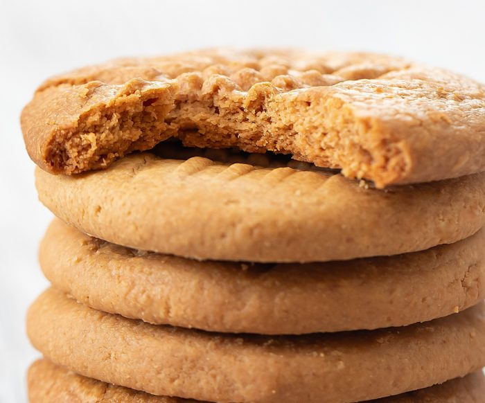 close-up shot of a stack of cookies